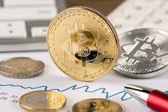 Concepto financiero euro crypto del intercambio de moneda de Bitcoin Imagenes de archivo