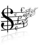 Concepto financiero - música del dinero Imagen de archivo