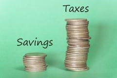 Concepto financiero sobre altos impuestos Foto de archivo libre de regalías