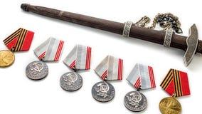 Concepto fotos viejas de la cuchilla del premio de la medalla de la cinta de StGeorges del 9 de mayo Día de la victoria 9 de mayo Foto de archivo