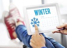 Concepto frío del calendario del copo de nieve del invierno Fotos de archivo