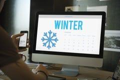 Concepto frío del calendario del copo de nieve del invierno Imagenes de archivo