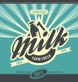 Concepto fresco del anuncio de la leche de la granja retra stock de ilustración
