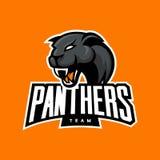 Concepto furioso del logotipo del vector del deporte de la pantera en fondo anaranjado Fotos de archivo