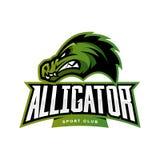 Concepto furioso del logotipo del vector del deporte del cocodrilo aislado en el fondo blanco Foto de archivo