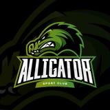 Concepto furioso del logotipo del vector del deporte del cocodrilo en fondo oscuro Foto de archivo