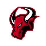 Concepto furioso del logotipo del vector del deporte del toro aislado en el fondo blanco Fotografía de archivo libre de regalías