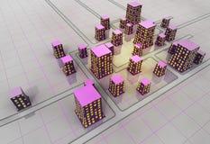 Concepto futurista de la estructura de la rejilla de la ciudad del scifi Fotografía de archivo libre de regalías