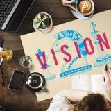 Concepto futuro de la inspiración de las ideas de las metas de la dirección de Vision fotos de archivo