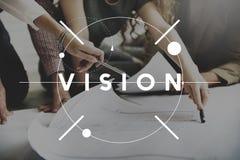 Concepto futuro de la motivación de la inspiración de la dirección de Vision foto de archivo