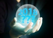 Concepto futuro del año 2018 en bola de cristal Fotos de archivo libres de regalías