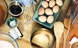 Concepto gastrónomo de la receta de la preparación de la panadería de la hornada Foto de archivo libre de regalías