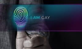 Concepto gay y homosexual de la expresión, Person Pressing Fingerpri foto de archivo libre de regalías