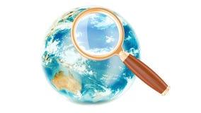 Concepto global de la búsqueda con el globo giratorio de la tierra, representación 3D