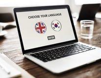 Concepto global de la comunicación coreana de la lengua inglesa Imagen de archivo libre de regalías