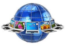 Concepto global de la comunicación del ordenador stock de ilustración