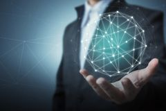 Concepto global de la conexión de red del círculo del negocio imagenes de archivo