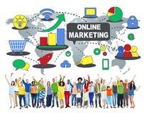Concepto global de la estrategia empresarial del comercio en línea del márketing Fotos de archivo
