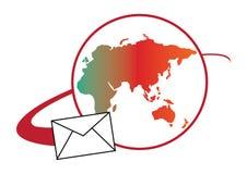 Concepto global de la insignia del correo Fotos de archivo