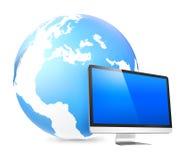 Concepto global de la tecnología de Internet del monitor del establecimiento de una red Imagen de archivo libre de regalías