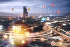 Concepto global del conceBusiness de la ciudad de la conexión central de la red del fondo del negocio del fondo de la red de la c Fotografía de archivo libre de regalías