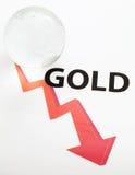 Concepto global del descenso de precio del oro Fotos de archivo libres de regalías