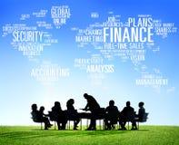 Concepto global del dinero del márketing financiero del negocio de las finanzas Fotos de archivo