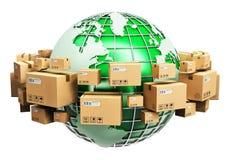 Concepto global del envío y de la ecología Imagenes de archivo
