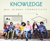 Concepto global del gráfico de la educación de la conectividad del conocimiento Imagen de archivo