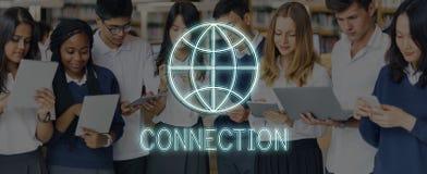 Concepto global del gráfico del establecimiento de una red de la comunicación de la conexión imágenes de archivo libres de regalías