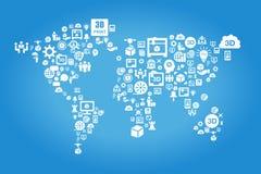 Concepto global del negocio de la impresora 3D ilustración del vector