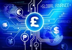 Concepto global del negocio de la inversión de la moneda de las finanzas Foto de archivo