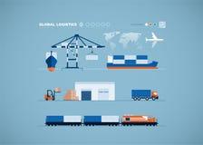 Concepto global del transporte stock de ilustración