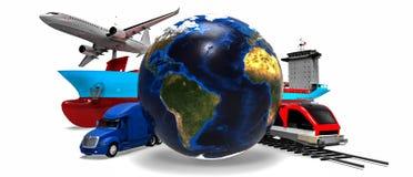 Concepto global del transporte de cargo Imagen de archivo libre de regalías