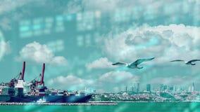 Concepto global del transporte de la logística Marítimo en el uso del fondo de las nubes para la industria naval de las importaci