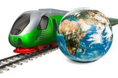 Concepto global del viaje del carril Tren de alta velocidad con el globo de la tierra, representación 3D libre illustration