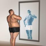 Concepto gordo y delgado del hombre humano Imagenes de archivo