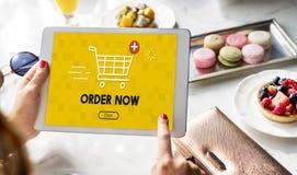 Concepto gráfico de la compra del carro en línea que hace compras imagenes de archivo