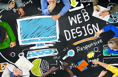 Concepto gráfico de la página web de Digitaces Webdesign de la creatividad contenta imágenes de archivo libres de regalías