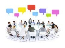 Concepto grande de las burbujas del discurso de la reunión de negocios Imagenes de archivo