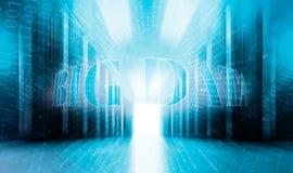 Concepto grande de los datos con el centro de datos moderno del sitio servenay del fondo del código binario foto de archivo