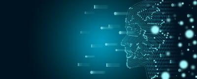 Concepto grande del aprendizaje de los datos y de máquina Un esquema de la cara con flujo de datos binarios en un fondo libre illustration