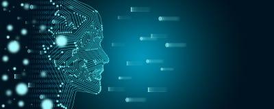 Concepto grande del aprendizaje de los datos y de m?quina Un esquema femenino de la cara con flujo de datos binarios en un fondo libre illustration