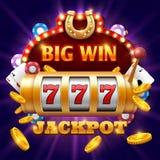 Concepto grande del casino del vector de la lotería del triunfo 777 con la máquina tragaperras Imágenes de archivo libres de regalías