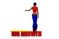 concepto grande del crecimiento de la mujer 3d Fotografía de archivo libre de regalías