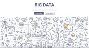 Concepto grande del garabato de los datos stock de ilustración
