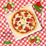 Concepto gráfico fresco del vector de ideas del menú de la comida campestre para las vacaciones de verano El blanco comprobó el p Imagenes de archivo