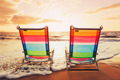 Concepto hawaiano de la puesta del sol de las vacaciones fotografía de archivo libre de regalías