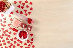 Concepto hermoso del día de tarjeta del día de San Valentín con los corazones imágenes de archivo libres de regalías