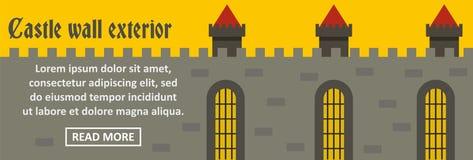 Concepto horizontal de la bandera exterior de la pared del castillo Imagenes de archivo